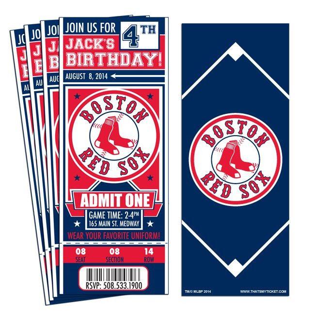 12) Custom Boston Red Sox Birthday Party Ticket Invitations With ...