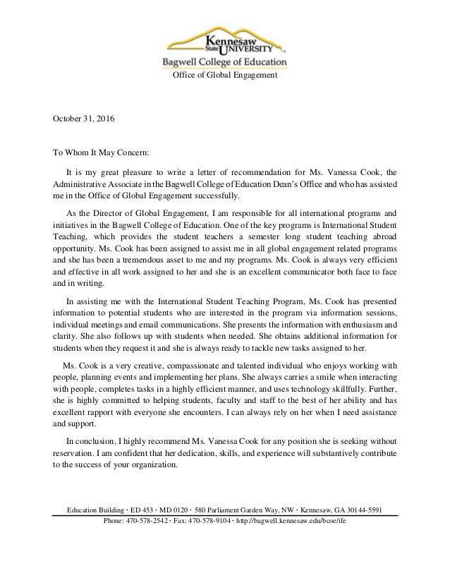 Global Engagement Letter for Vanessa Cook 2016