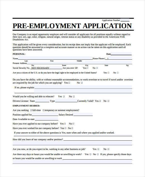 Sample Employment Application Form. 7+ Sample Employment ...