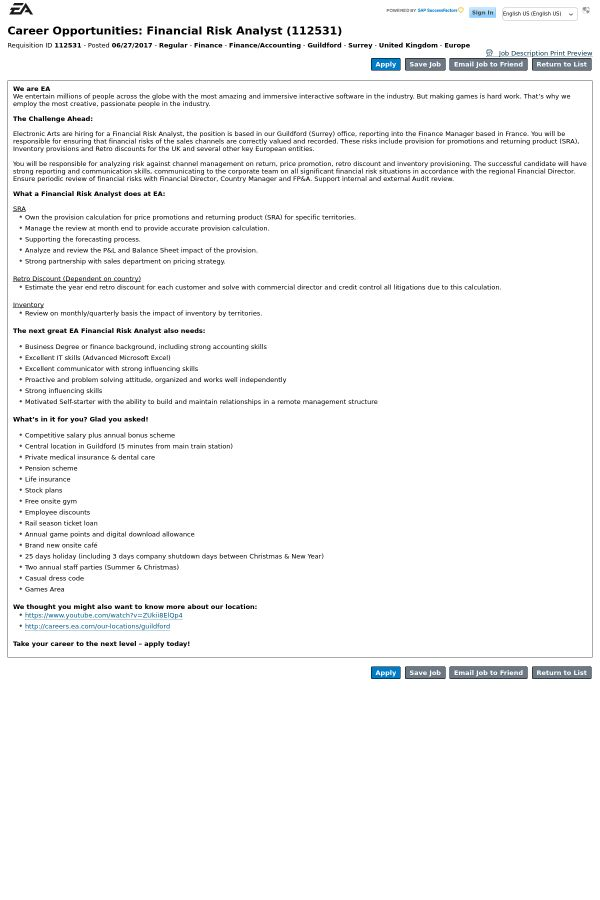 Financial Risk Analyst job at EA Sports in Guildford, United ...