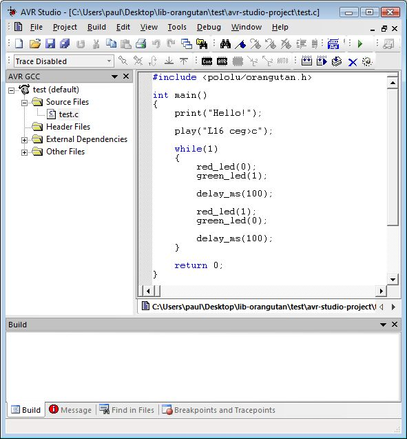 Pololu - 3. Compiling an example program