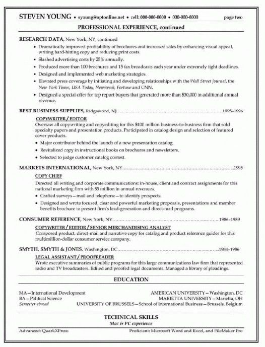Copy Of A Resume Format