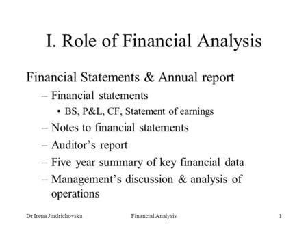 Dr Eva CipovovaCorporate Finance I1 I. Role of Financial Analysis ...