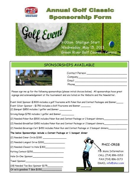 golf tournament sponsorship form template