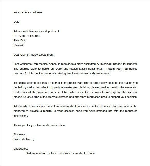 Letter Of Appeal Sample Template | Best Business Template
