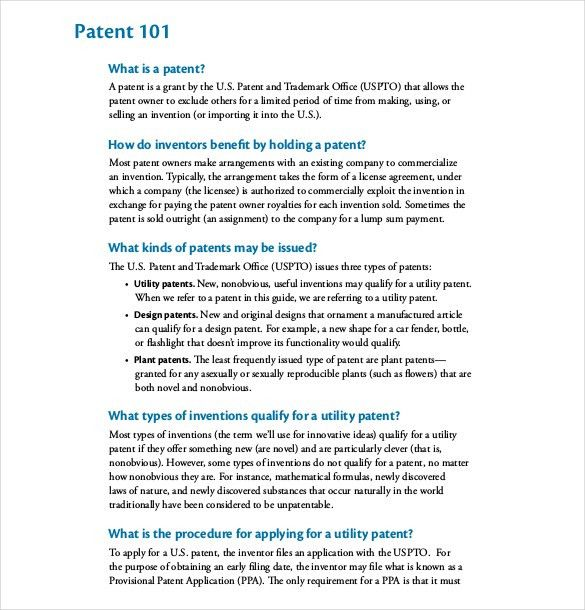 12+ Patent Application Templates - Free Sample, Example, Format ...