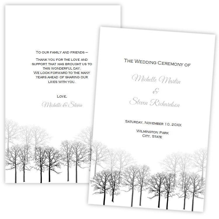 Folded Wedding Program Template, Winter Forest, DIY Printable ...