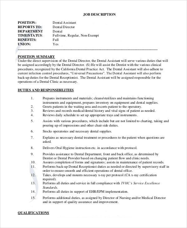Sample Dental Assistant Job Description - 8+ Examples in PDF, Word