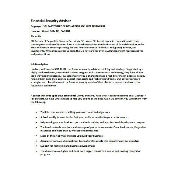 7+ Financial Advisor Job Description Templates – Free Sample ...