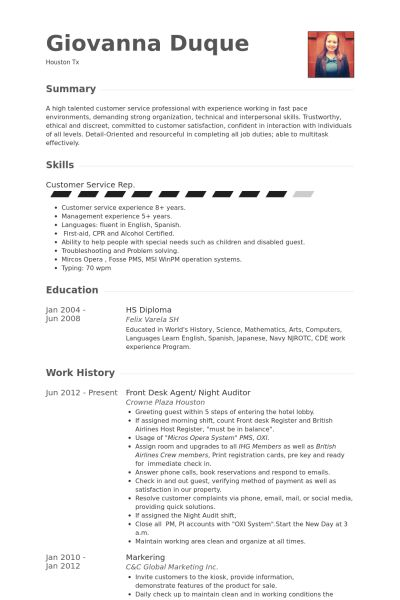 Night Auditor Resume samples - VisualCV resume samples database