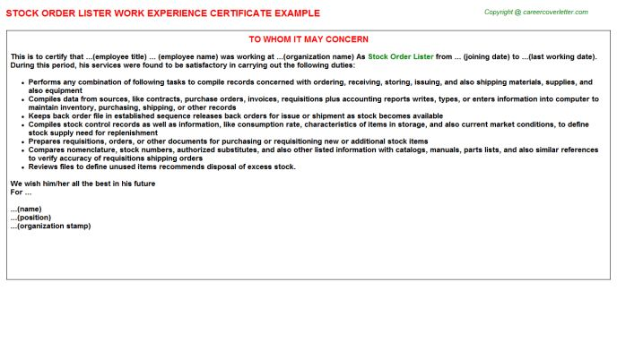 Stock Order Lister Work Experience Certificate