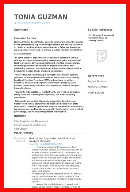 social work resume sample | apa example