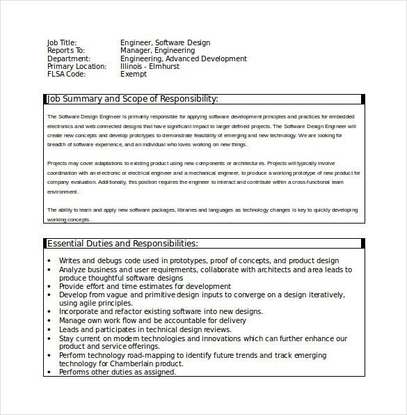 14+ Software Engineer Job Description Templates - Free Sample ...