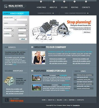 Free Template - Real Estate Website Template - TemplateYes