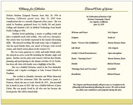 Funeral Obituary and Order of Service Program Examples