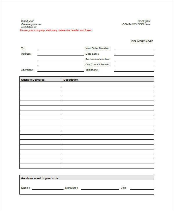 7+ Delivery Note Template - Free Sample, Example, Format Download