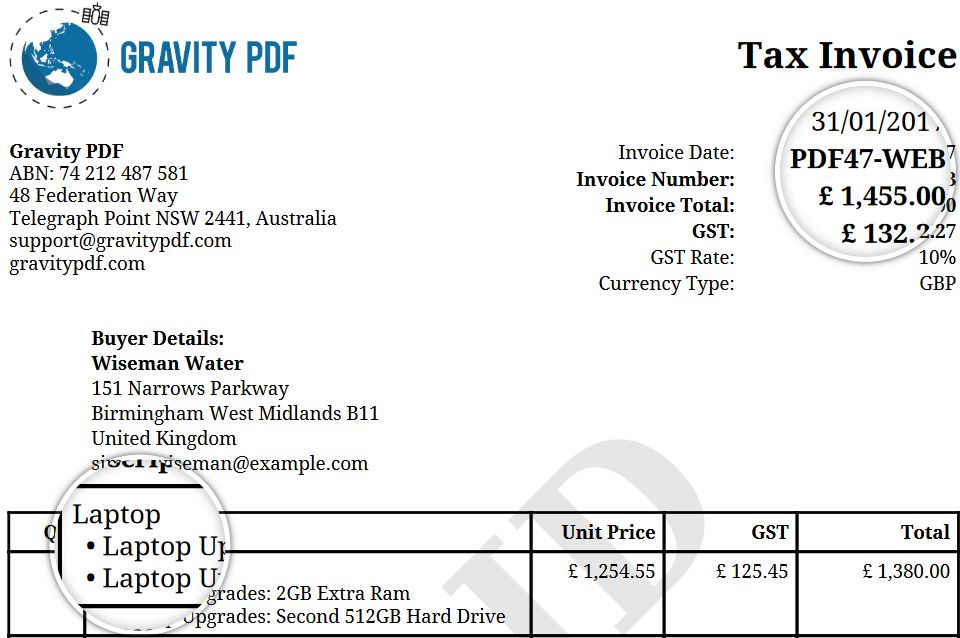 Invoice Classic Premium Template: How to setup | Gravity PDF
