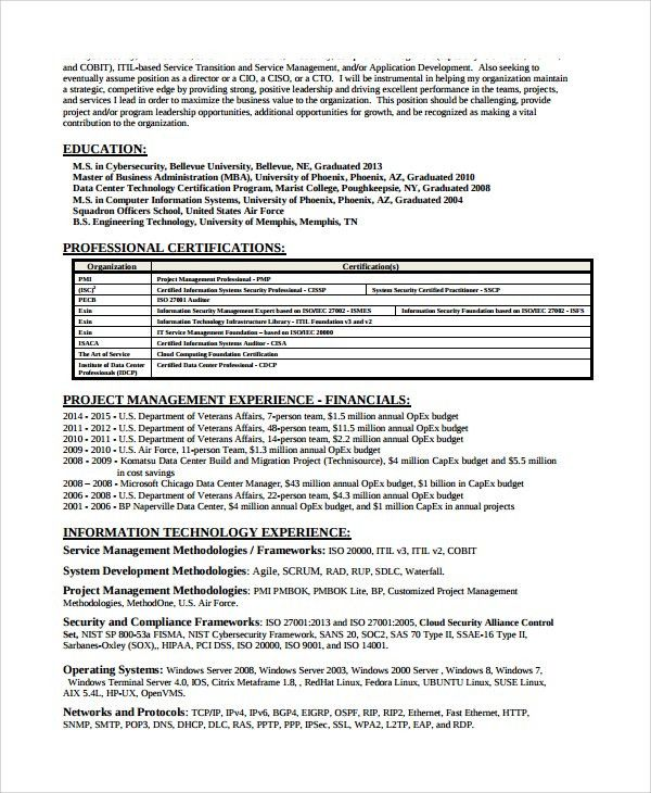 Sample Information Security Analyst Resume - 7+ Documents in Word, PDF