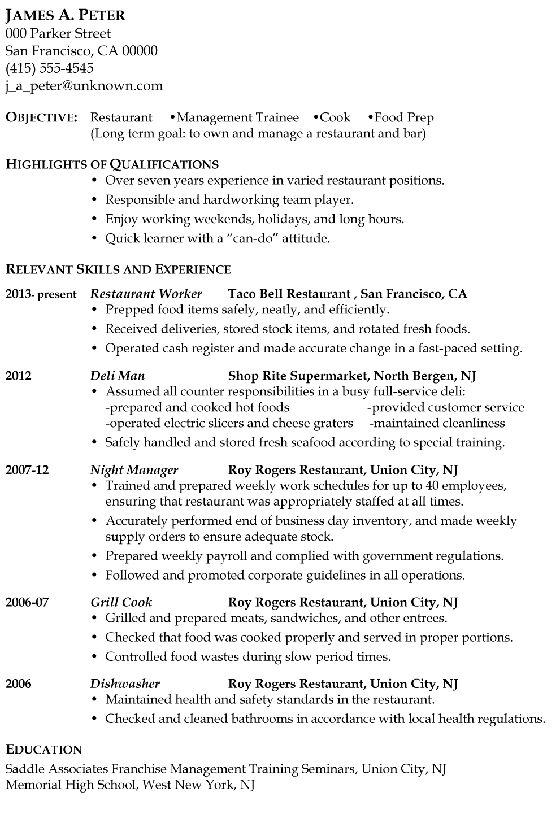 Resume Sample: Restaurant Management Trainee or Cook