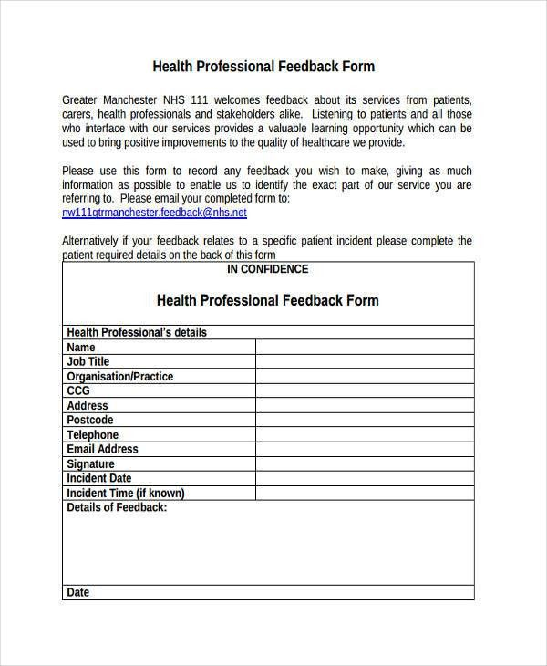 8+ Professional Feedback Form Sample - Free Sample, Example Format ...