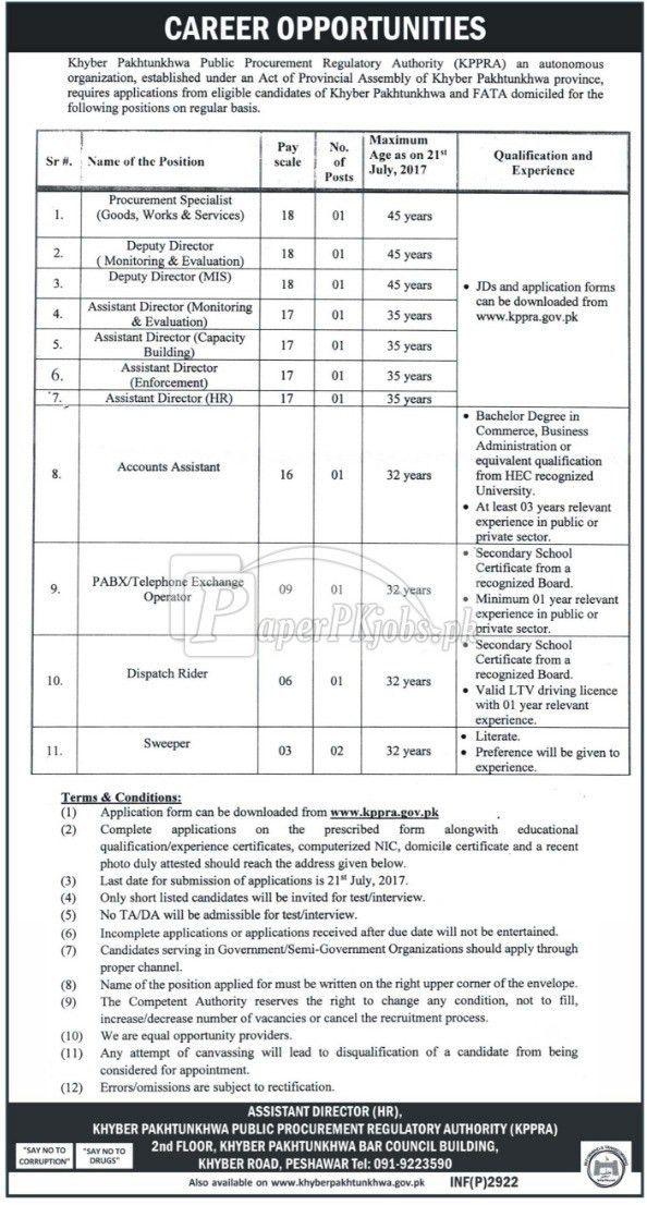 Khyber Pakhtunkhwa Public Procurement Regulatory Authority KPPRA ...