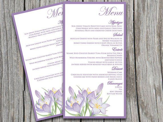 "Wedding Menu Card Template | ""Rustic Lily"" Lavender Lilac Purple ..."
