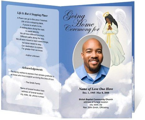 African American Angel Design Funeral Program Template | Spiritual ...