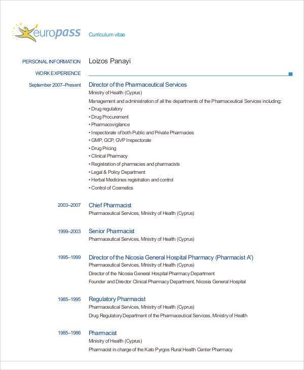 6+ Pharmacist Curriculum Vitae Templates - Free Word, PDF Format ...