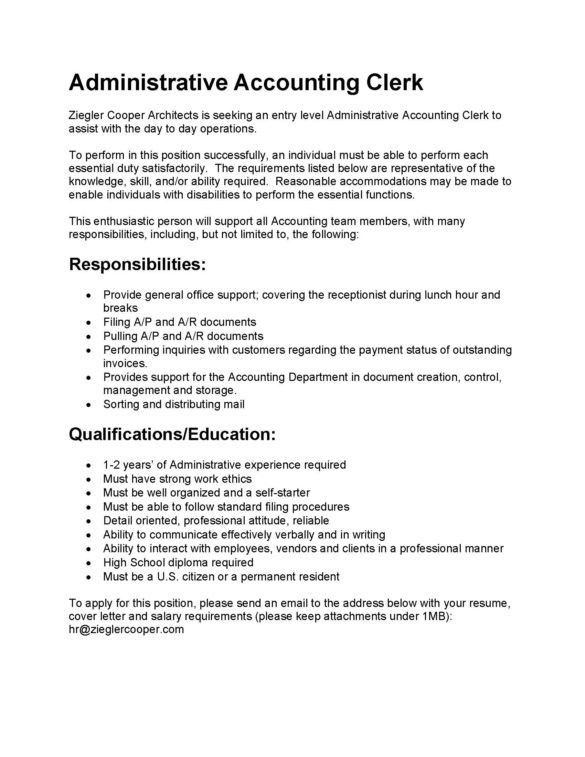 26 Professional Accounting Clerk Resume for Your Project ...