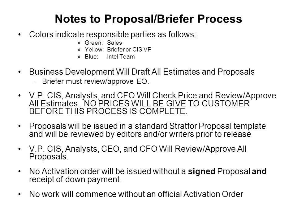 CIS Proposal Process (NEW CLIENTS ONLY) See Attached Notes Sales ...