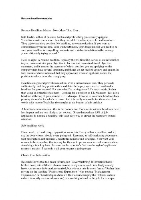 examples of resume titles