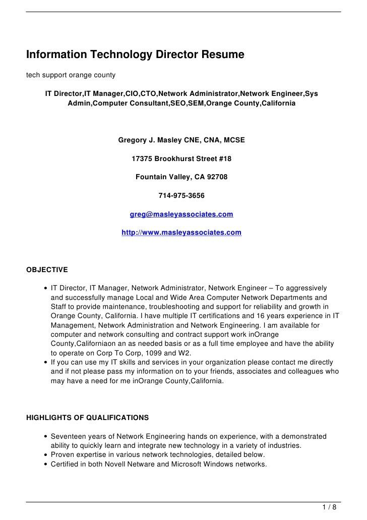 information technology director resume samples in word format free ...