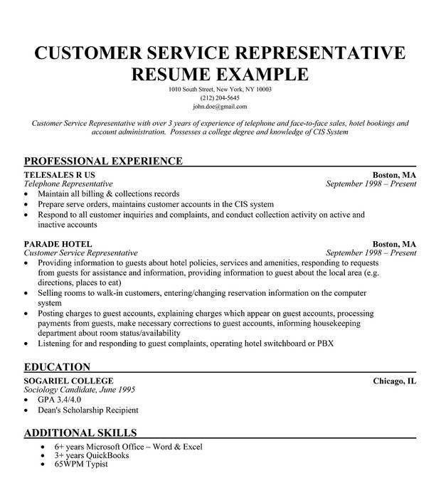Customer Service Representative Resume Sample - Resume CV Cover Letter