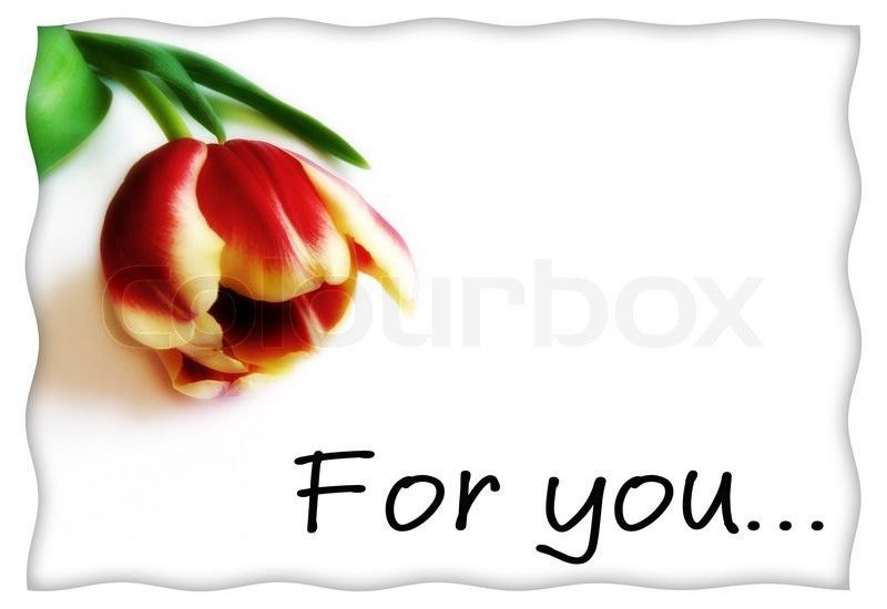 "Postcard or love letter template with flower and inscription ""for ..."