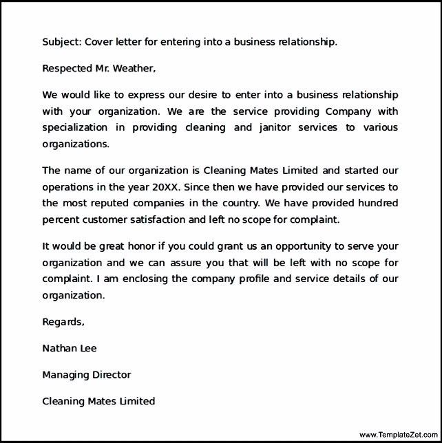 Business Cover Letter Example | TemplateZet