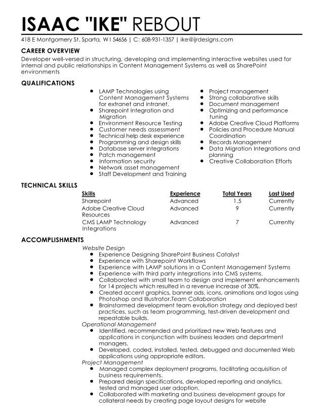 Rebout Web Systems Administrator Resume