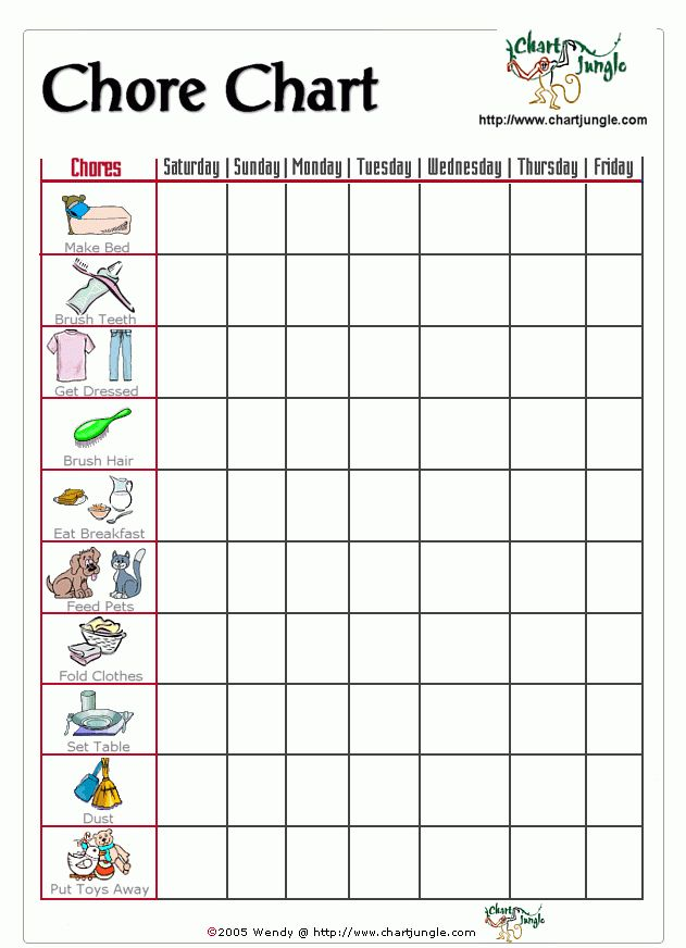 A chore chart for the little ones who can't read, but can identify ...