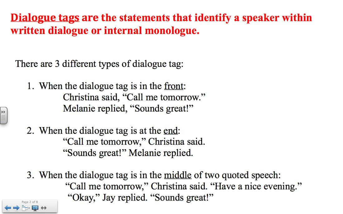 Editing Dialogue & Paragraphs - 7th grade humanities