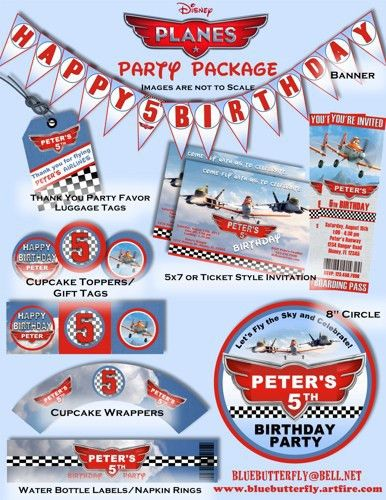 Disney Planes Party Decoration Package with Invitation - Printable ...