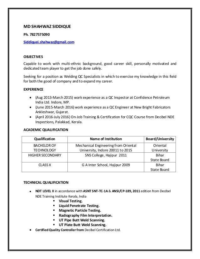 welding inspector resume welding cv resume welding inspector ...