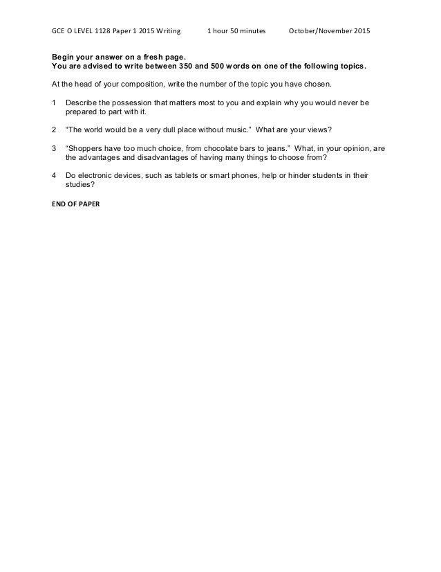 GCE O LEVEL 2015 1128 English Language Paper 1 Writing