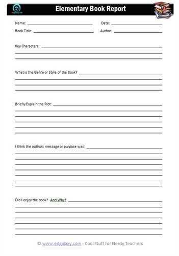 Mystery book report form | A book report template