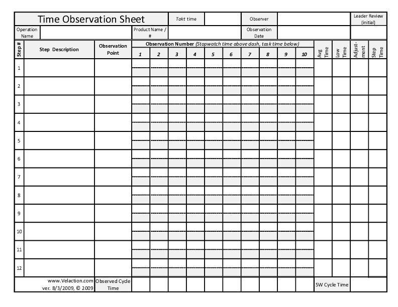 Time Observation Sheet (FREE DOWNLOAD AVAILABLE) - Velaction ...