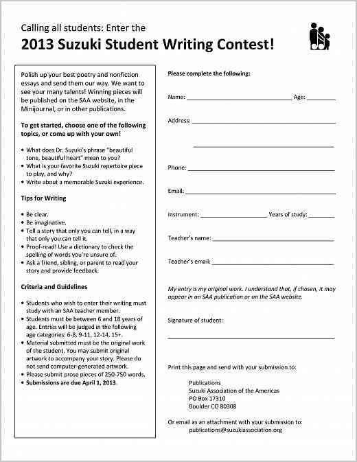 Contest Form Template] Contest Entry Form Sample Contest Entry ...