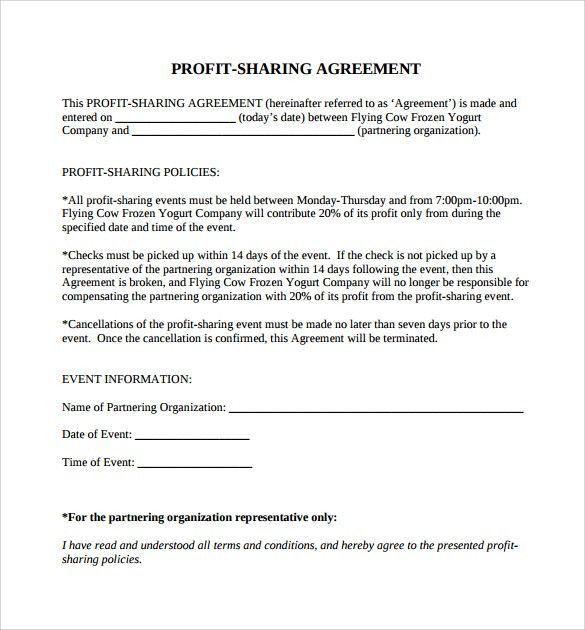 Sample Profit Sharing Agreement - 7+ Examples, Format