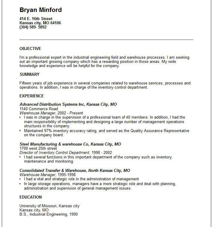 Resume Objective Samples. Resumes Objective Samples Warehouse ...