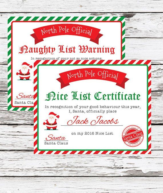 Santa Nice List Certificate Christmas Printables Naughty