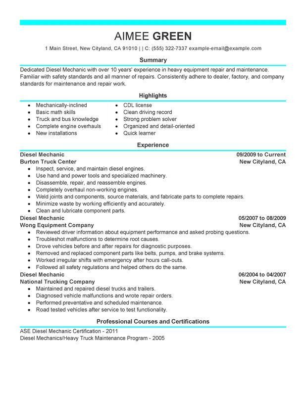 Unforgettable Diesel Mechanic Resume Examples to Stand Out ...