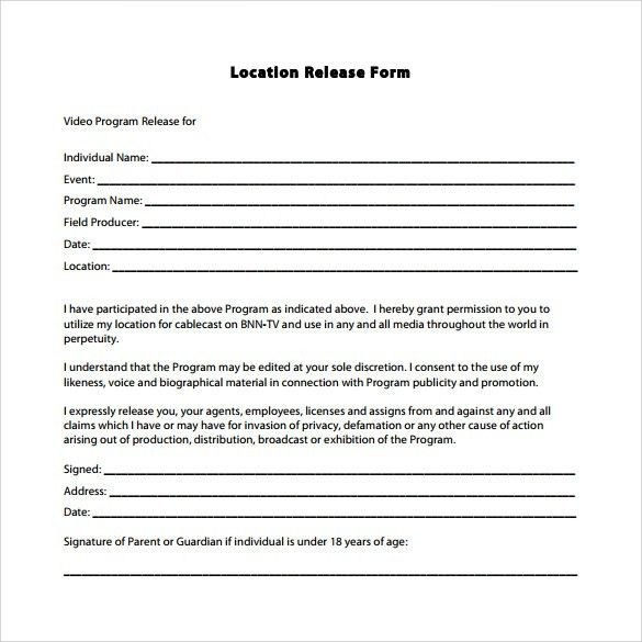 Video Release Form. Property Photo Release Photography Release ...