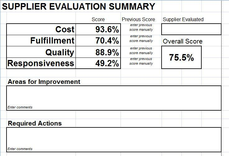 Supplier Evaluation Template. Once You Have Selected A New Vendor ...